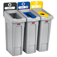 Rubbermaid 2007917 Slim Jim 3-Stream Recycling Station Kit with Open, Paper, and Bottle Lids