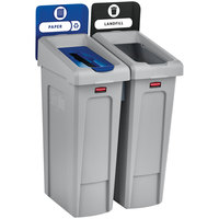 Rubbermaid 2007915 Slim Jim 2-Stream Recycling Station Kit with Open and Paper Lids