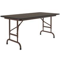 Correll Folding Table, 24 inch x 48 inch Melamine Top, Adjustable Height, Walnut - CFA2448M