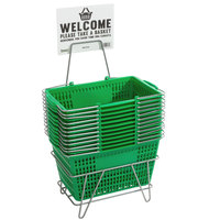 Regency Green 18 3/4 inch x 11 1/2 inch Plastic Grocery Market Shopping Baskets with Stand and Sign