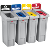 Rubbermaid 2007919 Slim Jim 4-Stream Recycling Station Kit with Open, Paper, and 2 Bottle Lids