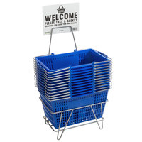Regency Blue 18 3/4 inch x 11 1/2 inch Plastic Grocery Market Shopping Baskets with Stand and Sign