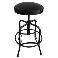 Holland Bar Stool 910BWBlkVyl Black Wrinkle Steel Height Adjustable Stool with Black Vinyl Seat