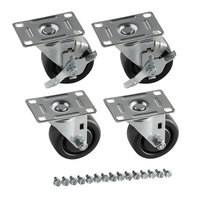 Assure Parts 3 inch Swivel Plate Casters for Beverage-Air DW64, WTRCS36, WTRCS52, and WTRCS60 Series   - 4/Set