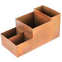 American Metalcraft BARC5 Antique Copper Satin Finish Bar / Coffee Caddy - 8 inch x 4 inch x 4 inch
