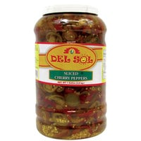 Del Sol 1 Gallon Sliced Cherry Peppers - 4/Case
