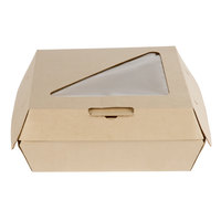 Bagcraft Papercon NAT-E883RAVTWF Eco-Flute 8 inch x 8 inch x 3 inch Corrugated Clamshell Take-Out Box with Window - 110/Case