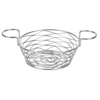 American Metalcraft BNBC80 Round Birdnest Chrome Metal Basket with 2 Ramekin Holders - 8 inch x 3 3/4 inch