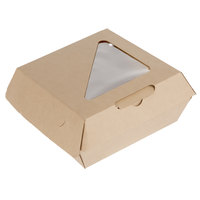 Bagcraft NAT-F505RAVTWF Eco-Flute 5 1/2 inch x 5 1/2 inch x 2 1/2 inch Corrugated Clamshell Take-Out Box with Window - 300/Case