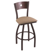 Holland Bar Stool X83030BWDCMplBReiTha Big & Tall Bar Height Black Wrinkle Steel Swivel Barstool with Rein Thatch Seat and Dark Cherry Maple Back