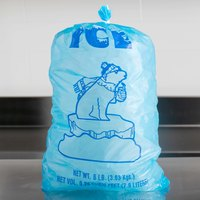 Choice 8 lb. Blue Plastic Ice Bag with Polar Bear Design - 500/Case