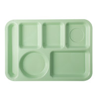 Carlisle 61409 10 inch x 14 inch Green ABS Plastic Left Hand 6 Compartment Tray