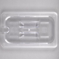 1/4 Size Clear Polycarbonate Food Pan Lid with Spoon Notch and Handle