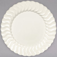 "Fineline Flairware 207-BO 7 1/2"" Bone / Ivory Plastic Plate - 18/Pack"
