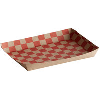 10 3/4 inch x 7 1/2 x 2 inch Checkered Kraft Lunch Tray   - 50/Pack