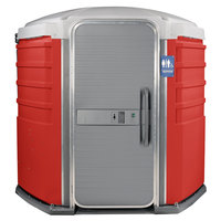 PolyJohn SA1-1013 We'll Care III Red Wheelchair Accessible Portable Restroom - Assembled