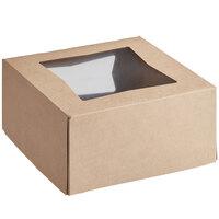 Baker's Mark 8 inch x 8 inch x 4 inch Kraft Auto-Popup Window Cake / Bakery Box - 10/Pack