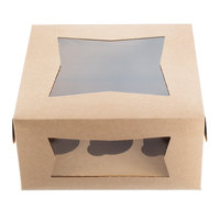 10 inch x 10 inch x 5 inch Kraft Window Cupcake Box with 6 Slot Reversible Insert - 10/Pack