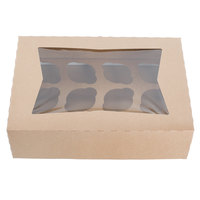 14 inch x 10 inch x 4 inch Kraft Window Cupcake / Muffin Box with 12 Slot Reversible Insert - 10/Pack
