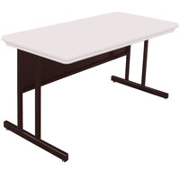 Correll RWS2448 24 inch x 48 inch Rectangular Desk Height Blow-Molded Plastic Top Computer Table