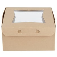 10 inch x 10 inch x 5 inch Kraft Window Cake / Bakery Box - 10/Pack