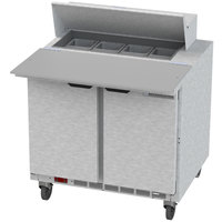 Beverage-Air SPE36HC-08C 36 inch 2 Door Cutting Top Refrigerated Sandwich Prep Table with 17 inch Wide Cutting Board