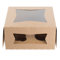 Southern Champion 8 inch x 8 inch x 4 inch Kraft Auto-Popup Window Cupcake Box with 4 Slot Insert - 10/Pack