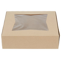 Southern Champion 24133K 9 inch x 9 inch x 2 1/2 inch Kraft Auto-Popup Window Pie / Bakery Box - 10/Pack