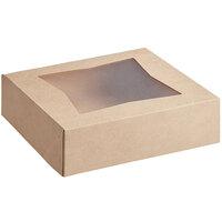 Baker's Mark 9 inch x 9 inch x 2 1/2 inch Kraft Auto-Popup Window Pie / Bakery Box   - 10/Pack