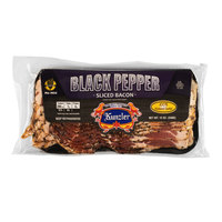 Kunzler 1 lb. Black Pepper Hardwood Smoked Sliced Bacon - 12/Case