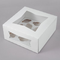 Southern Champion 9 inch x 9 inch x 4 inch White Auto-Popup Window Mini Cupcake / Muffin Box with Insert - 10/Pack
