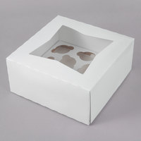9 inch x 9 inch x 4 inch White Auto-Popup Window Mini Cupcake / Muffin Box with Insert   - 10/Pack