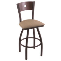 Holland Bar Stool X83025BWDCMPLBREITHA Big & Tall Counter Height Black Wrinkle Steel Swivel Barstool with Rein Thatch Seat and Dark Cherry Maple Back