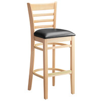 Lancaster Table & Seating Natural Ladder Back Bar Height Chair with Black Padded Seat