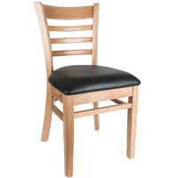 Lancaster Table & Seating Natural Finish Wooden Ladder Back Chair with 2 1/2 inch Padded Seat