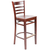 Lancaster Table & Seating Mahogany Finish Wooden Ladder Back Bar Height Chair