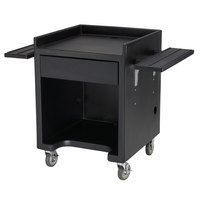 Cambro ES28RL110 Black Cash Register / Equipment Stand with Tray Rail on Both Sides