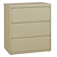 Hirsh Industries 17633 Putty Three-Drawer Lateral File Cabinet - 36 inch x 18 5/8 inch x 40 1/4 inch