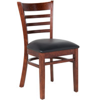 Lancaster Table & Seating Mahogany Finish Wooden Ladder Back Chair with 2 1/2 inch Padded Seat