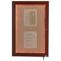 Aarco 48 inch x 36 inch Walnut Finish Lighted Bulletin Board Cabinet