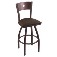 Holland Bar Stool X83025BWDCMPLBREICOF Big & Tall Counter Height Black Wrinkle Steel Swivel Barstool with Rein Coffee Seat and Dark Cherry Maple Back