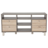 Flash Furniture EV-ET-4812-06-GG Montclair Gray Console Table / TV Stand with 4 Oak Woodgrain Drawers - 47 1/4 inch x 15 1/2 inch x 23 1/4 inch