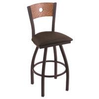 Holland Bar Stool X83025BWMEDOAKBREICOF Big & Tall Counter Height Black Wrinkle Steel Swivel Barstool with Rein Coffee Seat and Medium Oak Back