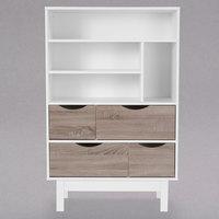 Flash Furniture EV-BC-1080-02-W-GG St. Claire White 4 Shelf Bookcase with 4 Oak Woodgrain Drawers - 31 1/2 inch x 15 1/4 inch x 49 inch