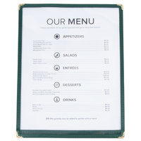 8 1/2 inch x 11 inch Single Pocket Menu Cover - Hunter Green