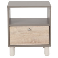 Flash Furniture EV-ST-4143-00-GG Montclair Gray End Table with 1 Sonoma Oak Woodgrain Drawer - 17 inch x 15 3/4 inch x 20 inch