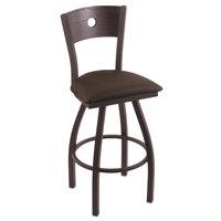 Holland Bar Stool X83025BWDCOAKBREICOF Big & Tall Counter Height Black Wrinkle Steel Swivel Barstool with Rein Coffee Seat and Dark Cherry Oak Back