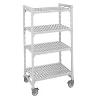 Cambro CPMU184267V4480 Camshelving Premium Mobile Shelving Unit with Premium Locking Casters 18 inch x 42 inch x 67 inch - 4 Shelf