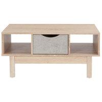 Flash Furniture EV-CT-2190-02-G-GG St. Regis Oak Woodgrain Coffee Table with Gray Drawer - 35 1/2 inch x 23 1/4 inch x 16 1/2 inch