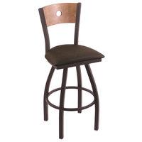 Holland Bar Stool X83025BWMEDMPLBREICOF Big & Tall Counter Height Black Wrinkle Steel Swivel Barstool with Rein Coffee Seat and Medium Maple Back